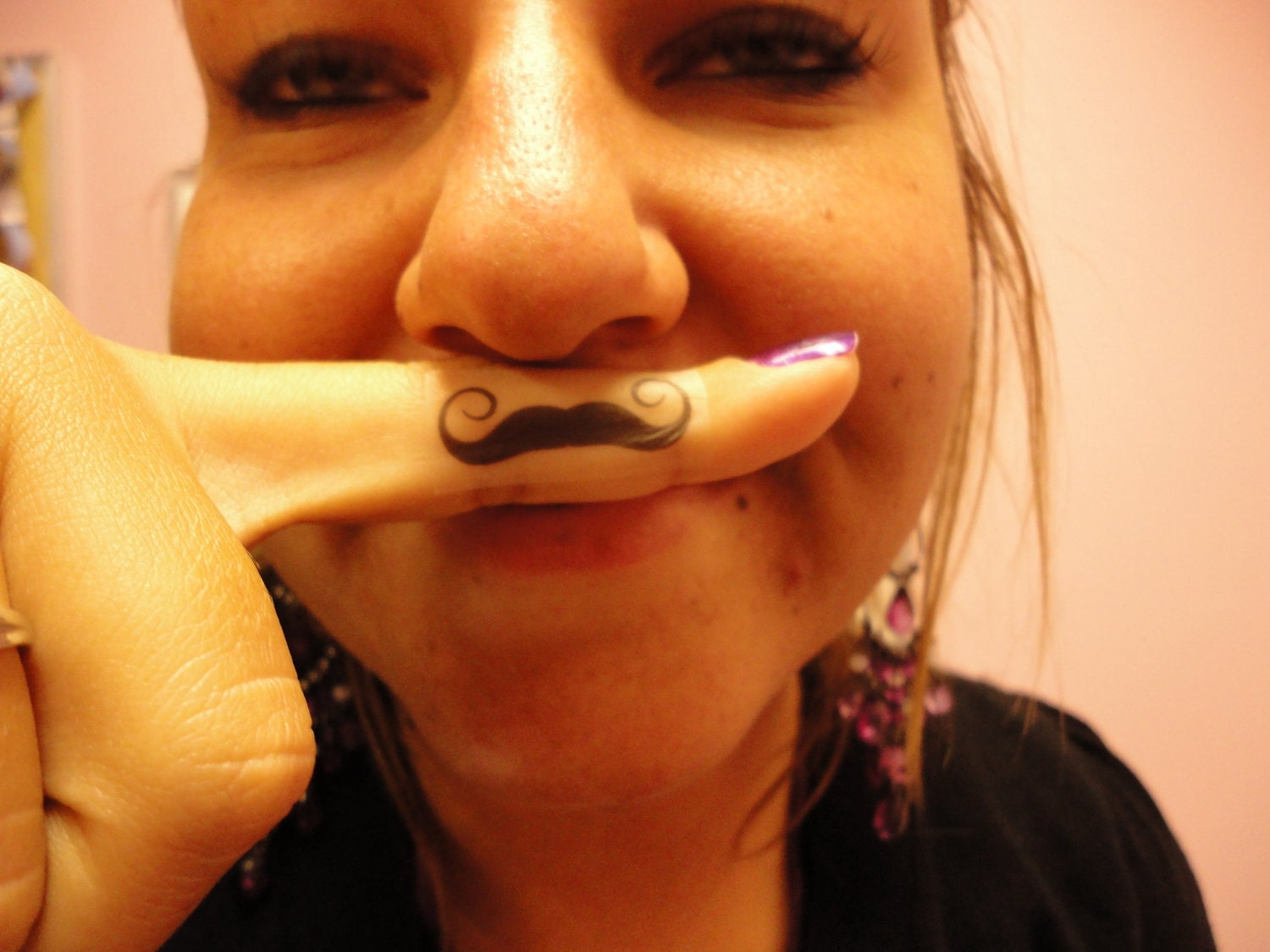 Items similar to finger stache temporary tattoo sticker on for Mustache temporary tattoos