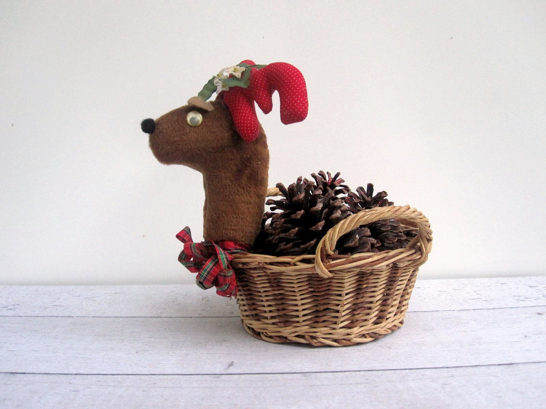 Christmas Reindeer Basket Holiday Decor By Lovebutlervintage