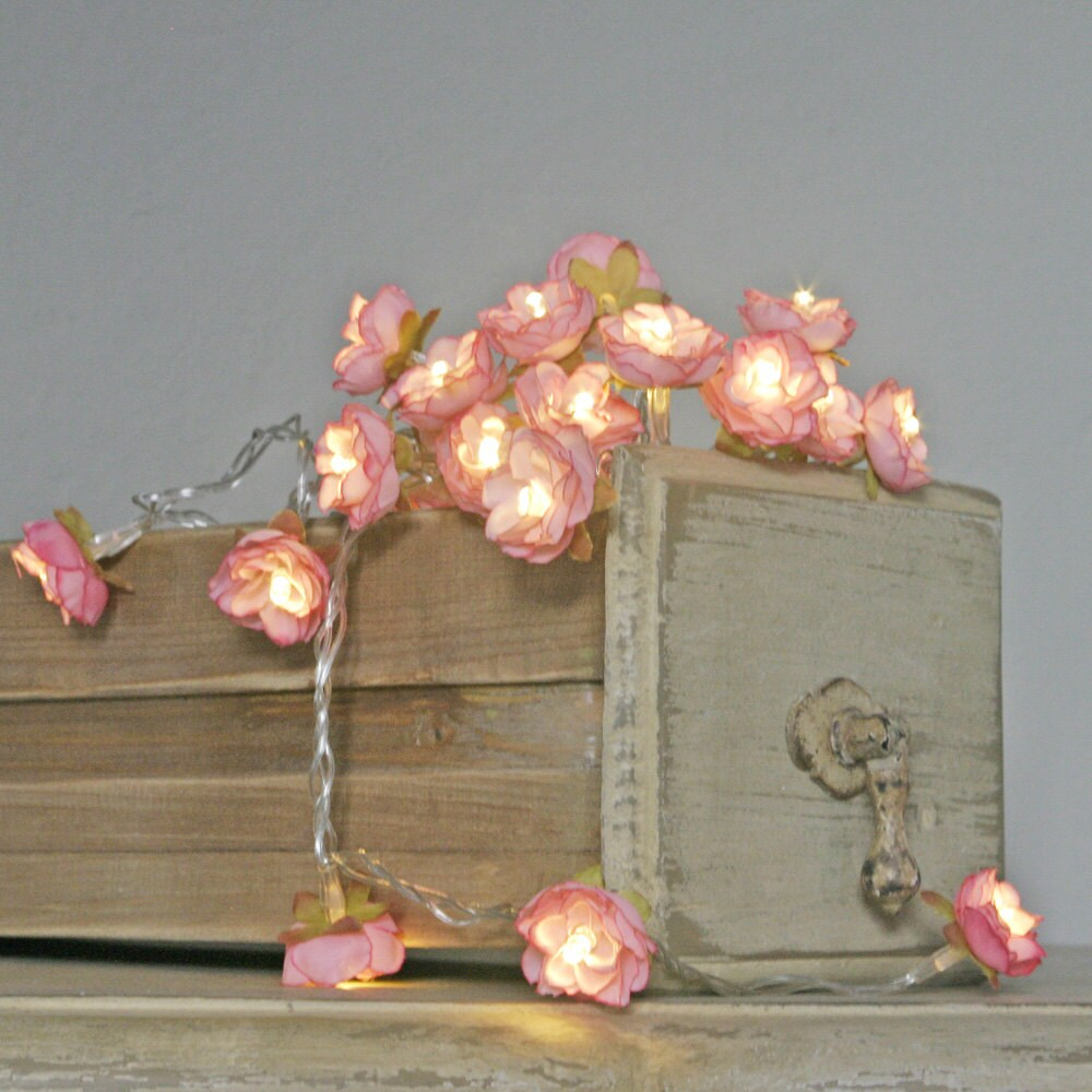 Vintage String Lights Etsy : Vintage Pink Longer Wild Roses Fairy Lights by PamelaAngus