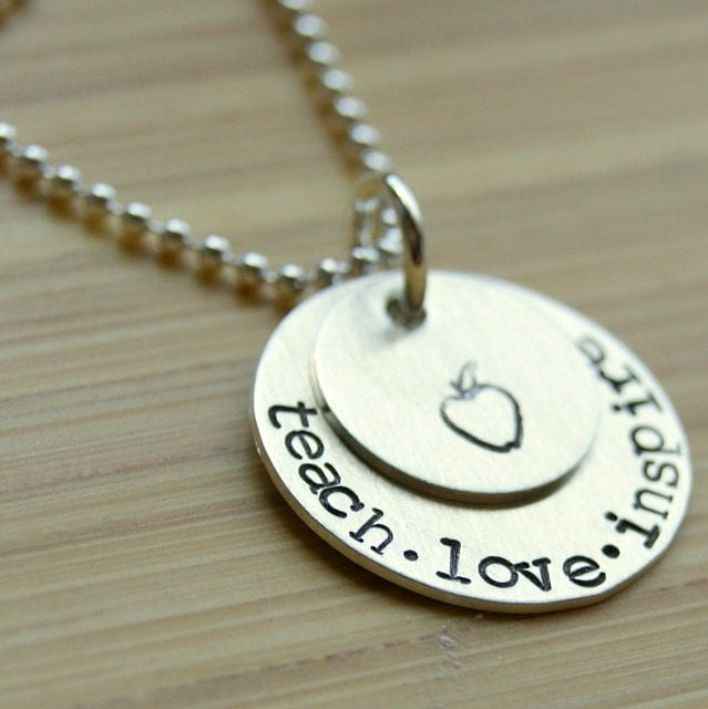 Teach Inspire Love Handstamped Necklace for Teachers Sterling Silver with Apple