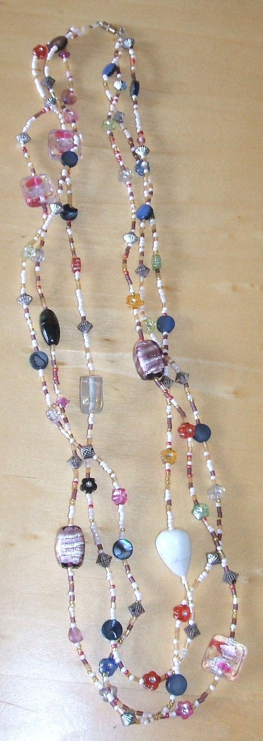 Fun  necklace with lampwork beads