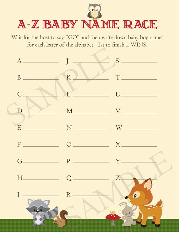 woodland animals baby names baby shower game by partypopinvites