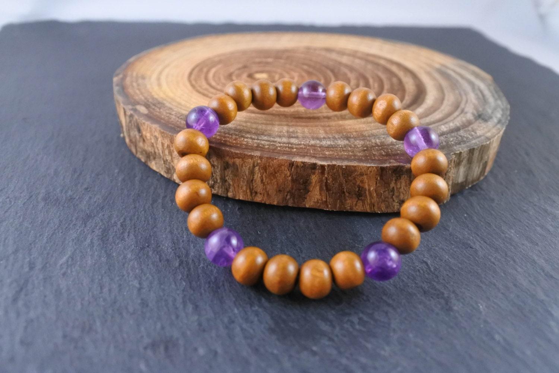 Wood and Amethyst Bracelet Wood Bracelet Amethyst Bracelet Wood Jewelry Amethyst Jewelry