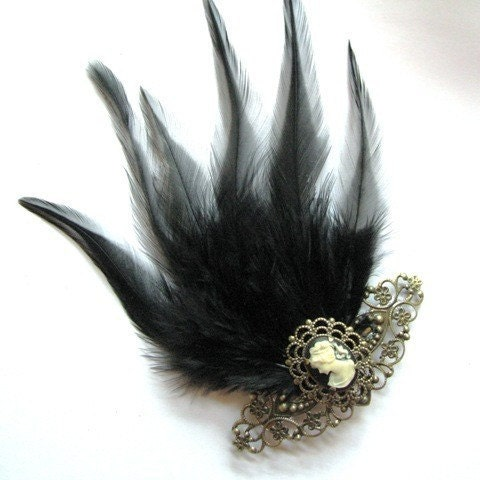 Gothic Romance - Victorian Inspired Cameo and Feather fascinator hair piece