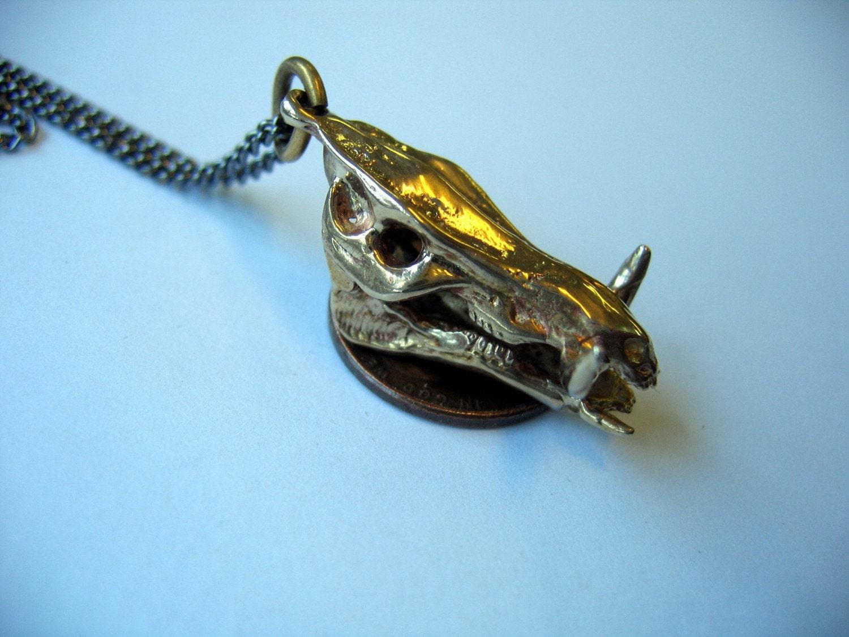 Bronze African Warthog Skull Pendant Necklace