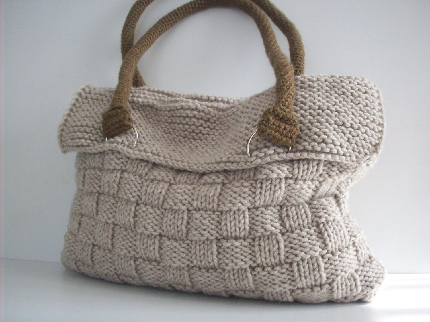 NzLbags NEW Everyday Knitted Bag, Shoulder Bag, Handbag - Beige Nr - 075