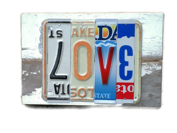 License Plate Sign - Love - Rustic Wedding Decor - SweetSomeday