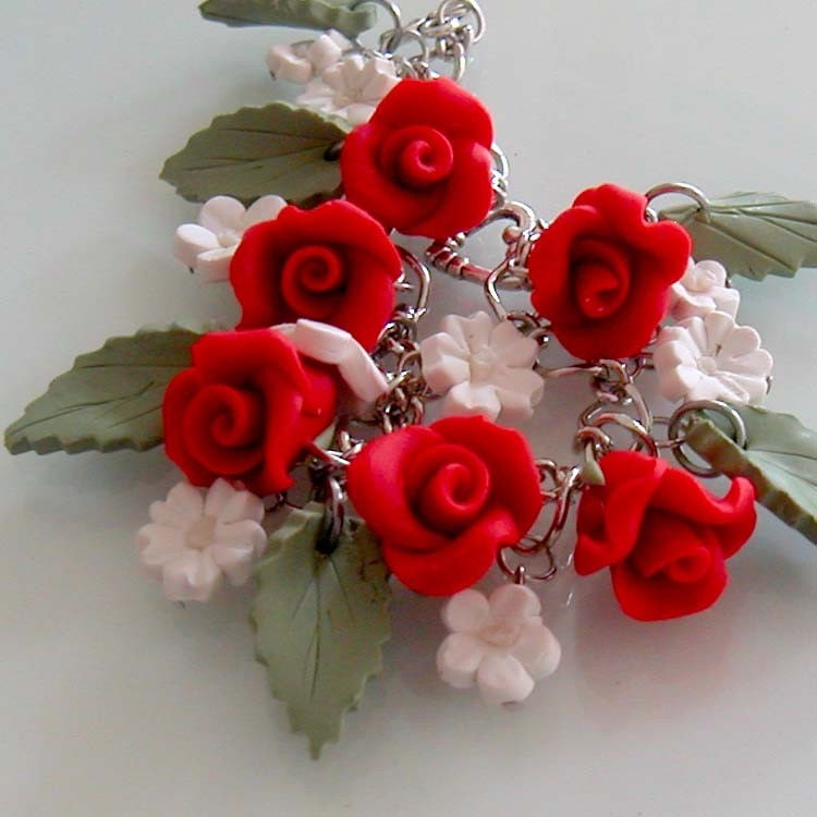 Red Rose and White Daisy Garden Bracelet