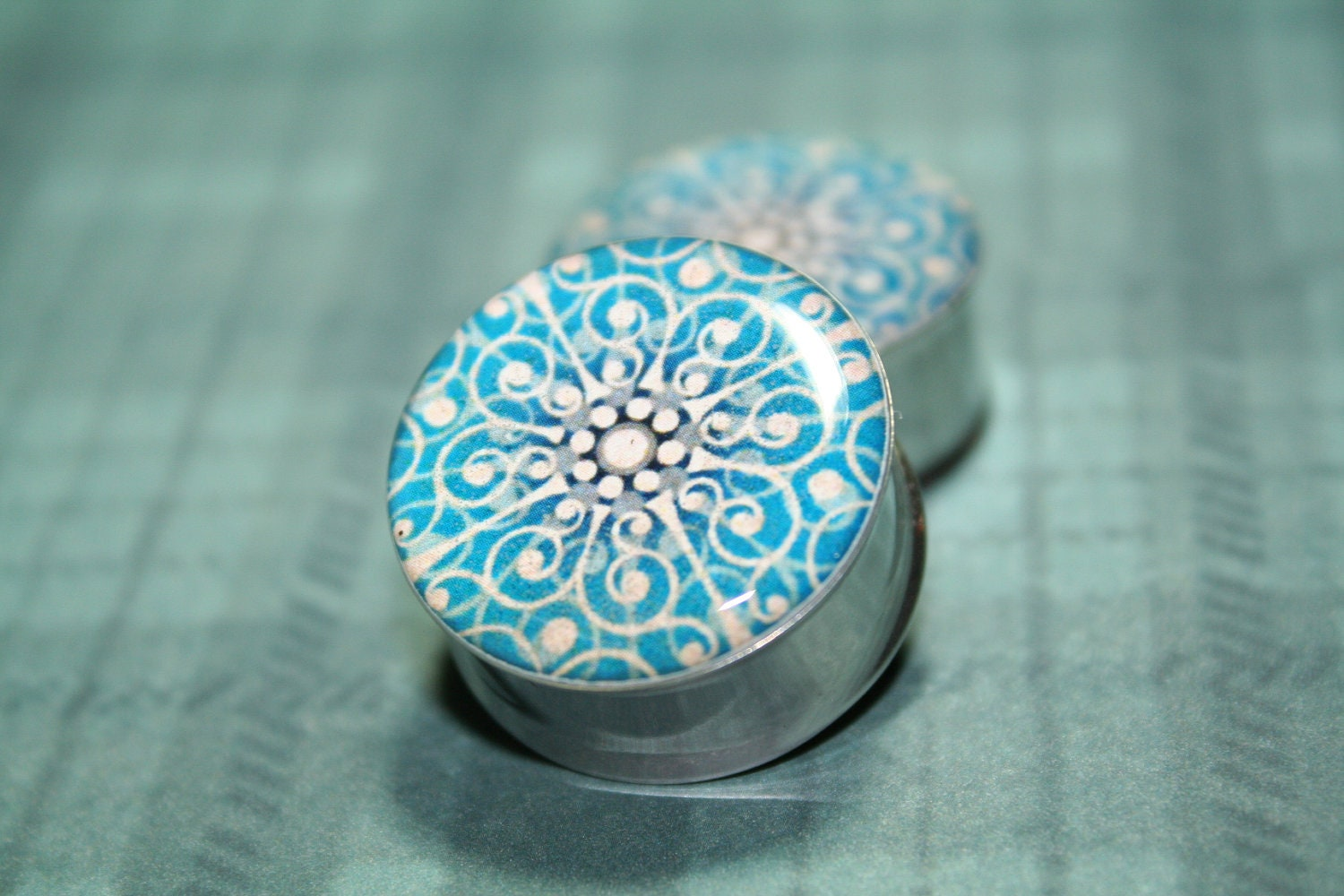 "Kaleidoscope Plugs, Style 1, 0g, 00g, 7/16, 1/2, 9/16, 5/8, 3/4, 7/8, 1 inch (Soon in sizes 1 1/8 ""-2"")"