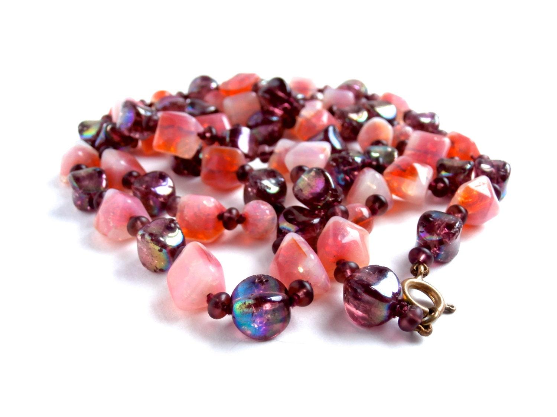 Long Gemstone Necklace  Vintage  Crackle Agate  Purple Glass