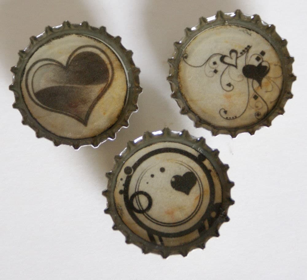 Upcycled Hearts bottle cap Magnet Set of 3