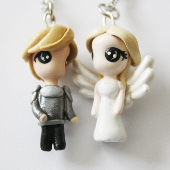 FREE SHIPPING - Romeo and Juliet - Miniature Sculptures - Charm Necklaces