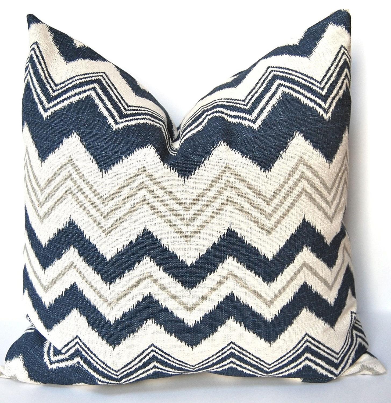 Decorative Pillow Navy Chevron Accent Pillow Cover 20 Inches- ONE Designer Zazzle Chevron in ...