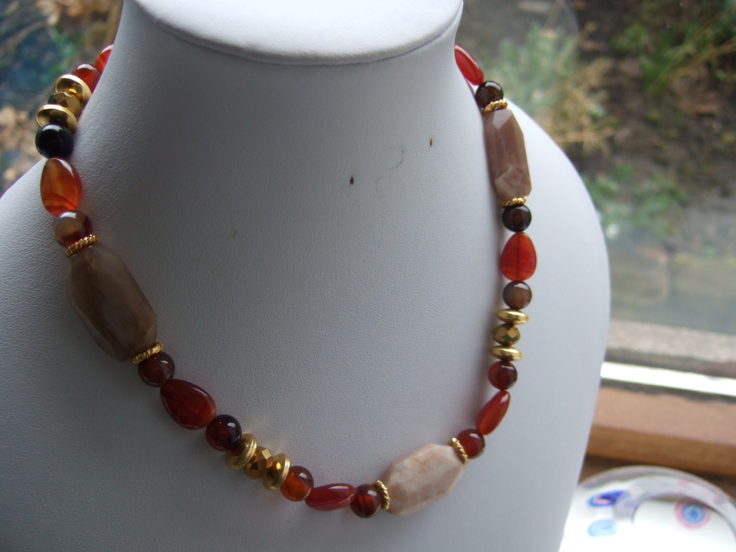 Dyed Agate Natural Sunstone Slab Gold Glass Crystal and Gold Plated Spacer Bead 16 Necklace.