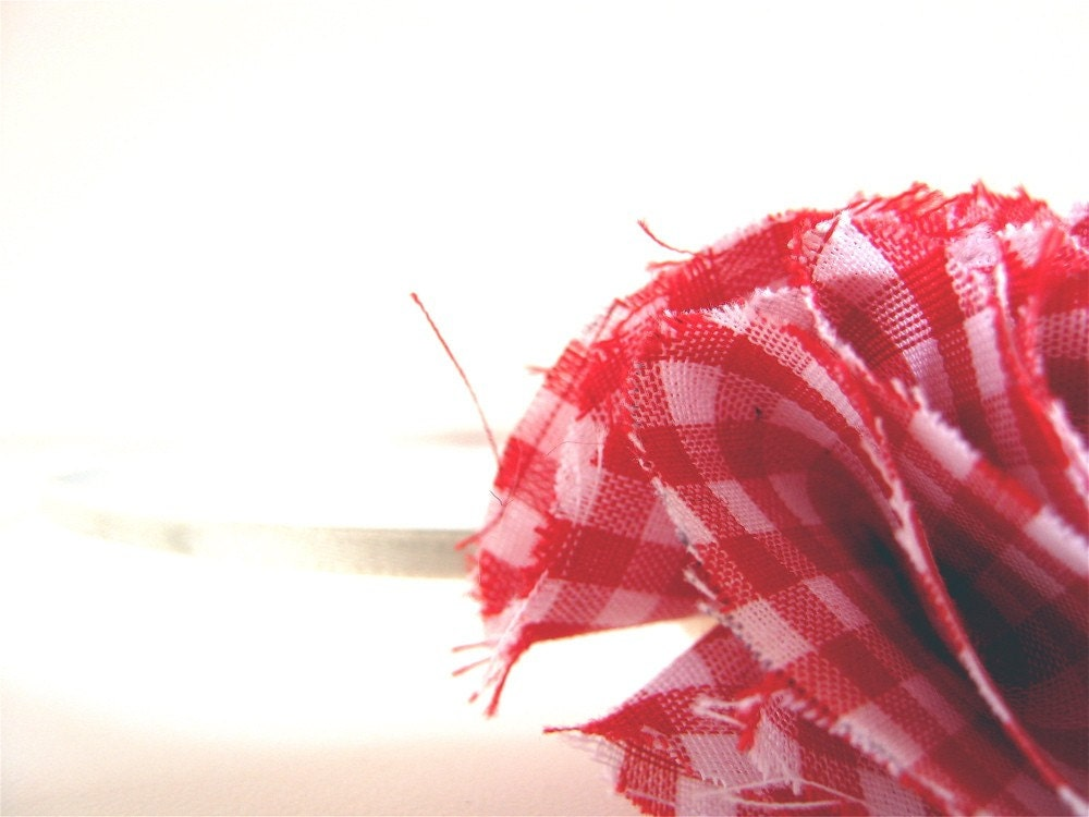 Headband, Accessories, Hair, Fabric, Red and White, Gingham Headband. TheApronThief on Etsy. Gifts Under 15 USD.