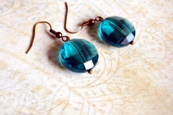 Teal Faceted and Antique Gold Earrings