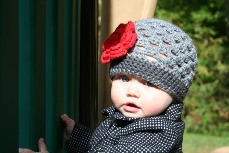 Grey Hat Beanie with Red Flower - Baby Toddler Children Adult