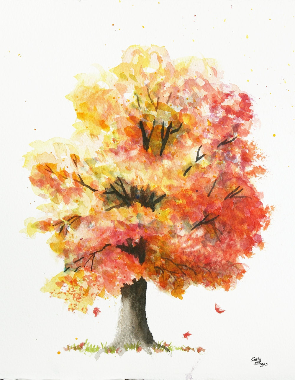 Autumn Tree Original Watercolor Painting by Cathy by CathyHillegas