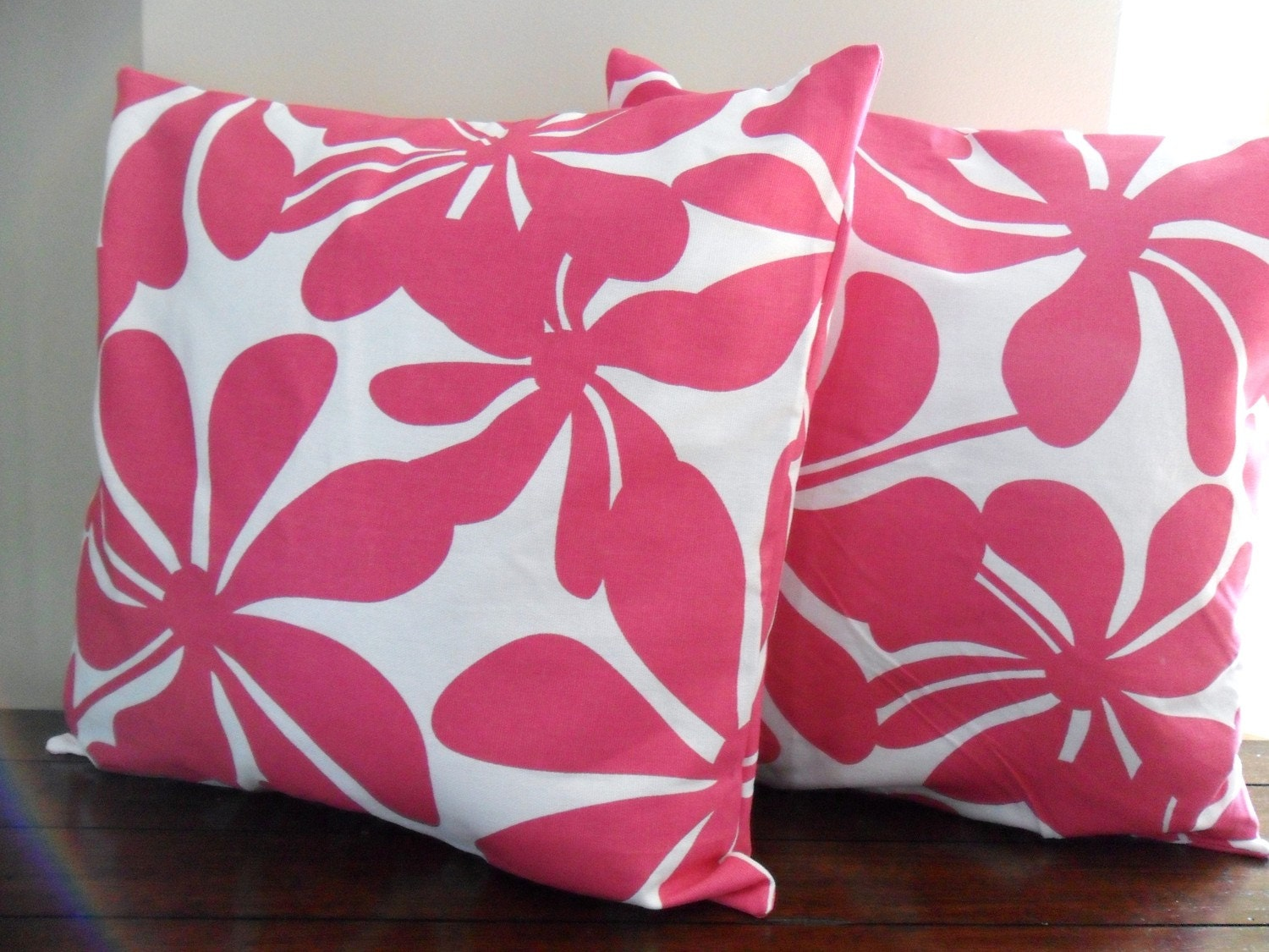 Mod Hot Pink and White Pillow Cover 16x16 - Set of 2 - Designer Fabric - Throw Pillow - Accent Pillow