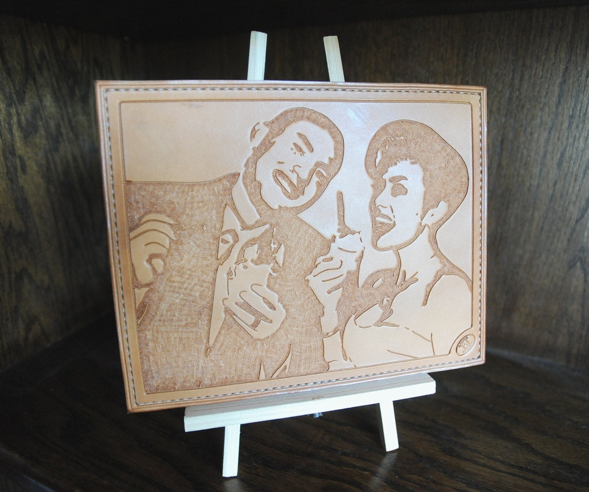 Custom handcarved leather portrait 8x10 wedding anniversary gift
