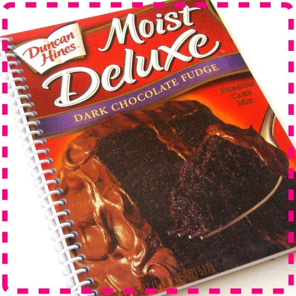 Dark Chocolate Fudge Cake Mix Original Spiral Bound Recycled Notebook / Upcycled Journal - Rich-