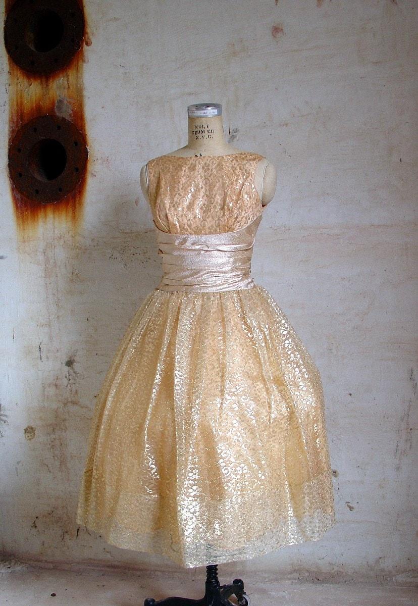 50s gold CINDERELLA prom dress