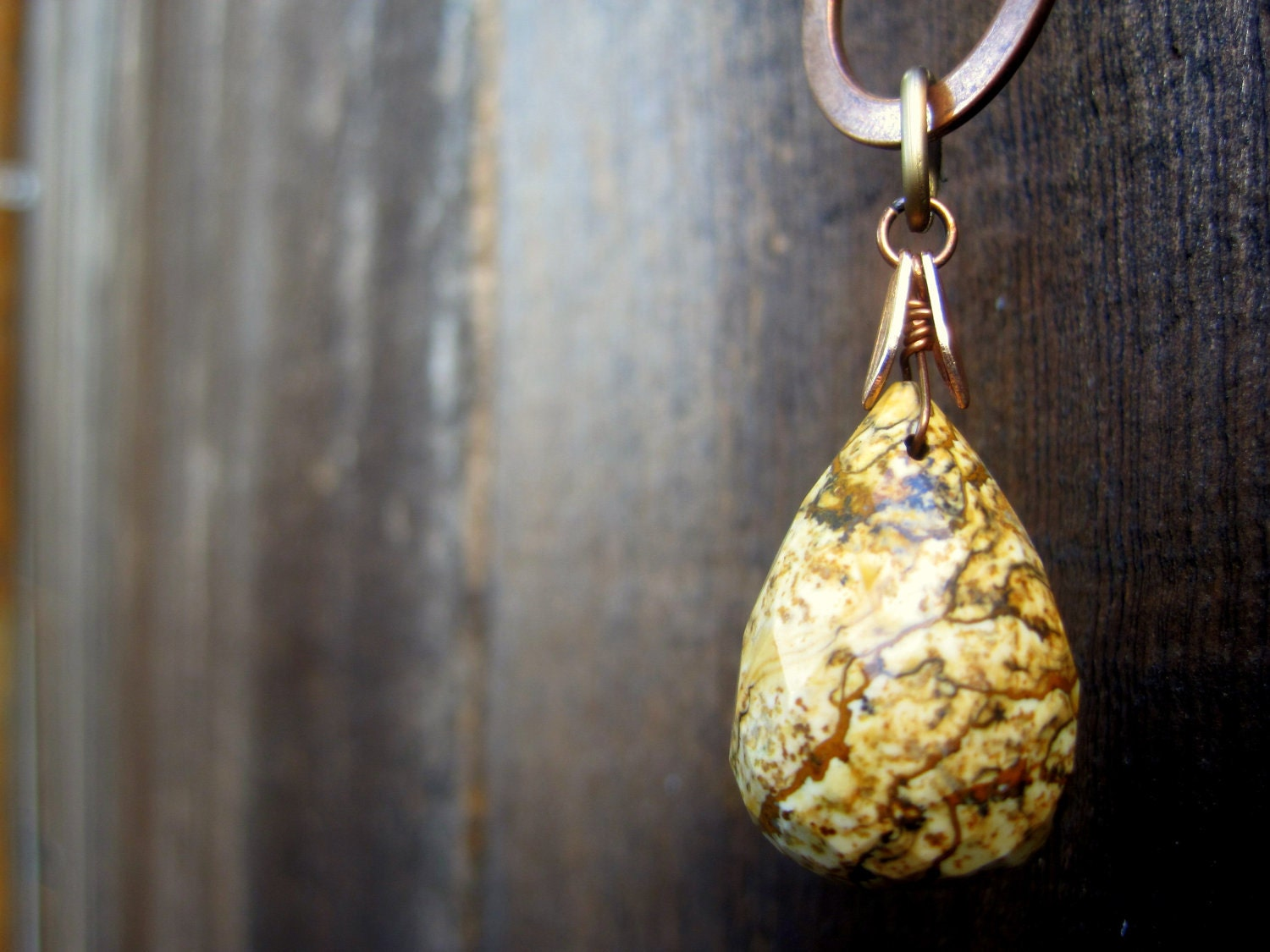 Organic Picture Jasper Gem Teardrop NecklaceHoliday Sale Holiday Sale - SmitherineDesigns