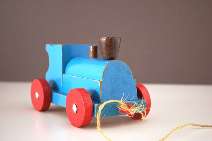 Vintage Wooden Toy Train. Made in 1960s. Made in Germany.
