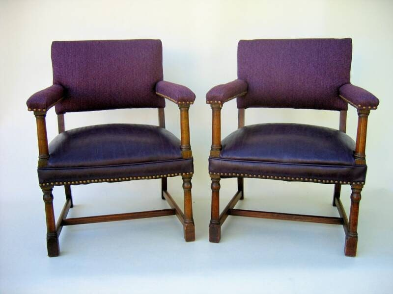Pair of Vintage Walnut Office Chairs