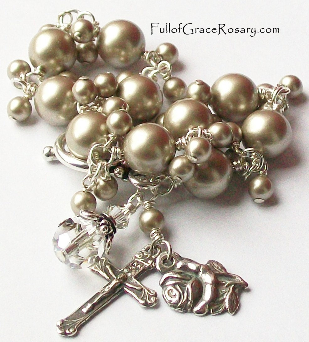 ... Pearl Rosary Bracelet, Unbreakable, Rose, Miraculous Medal, Catholic