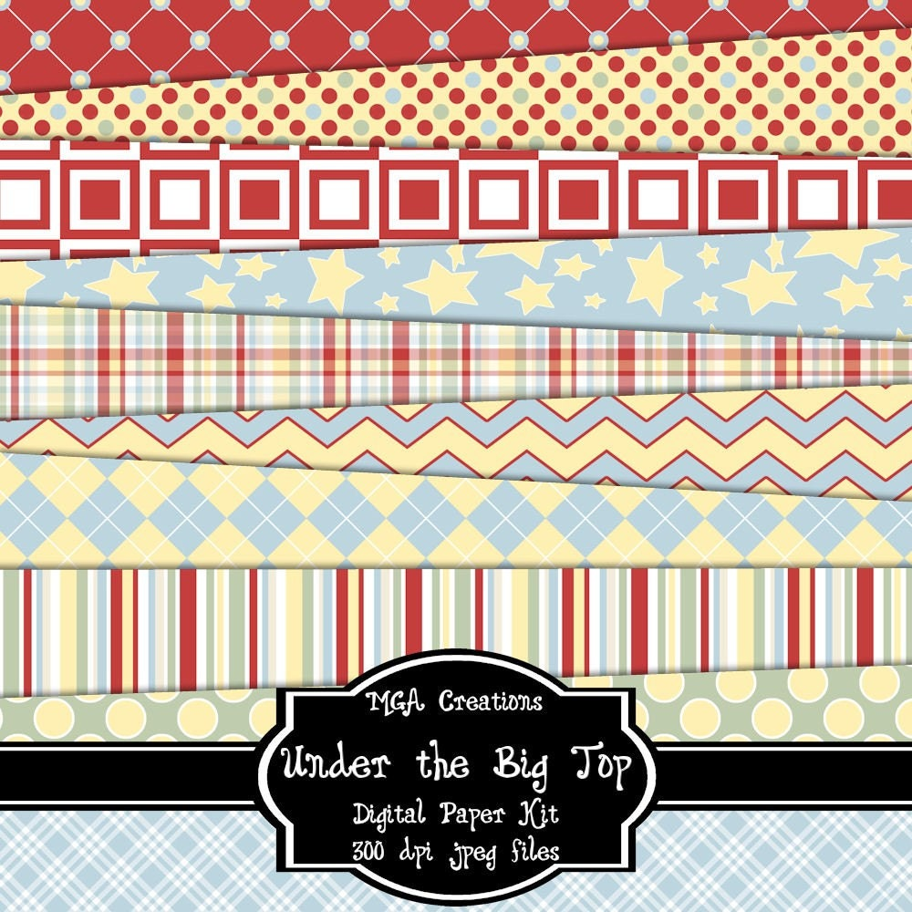 Under the Big Top - Digital Paper Kit For Scrapbooks, Cards, Invitations