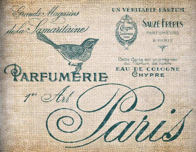 Antique AQUA French Perfume Labels Paris France Bird Digital Download for