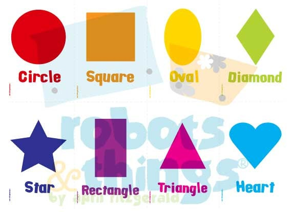 ... to PRINTABLE Basic Simple Shapes Flashcards Childrens Kids on Etsy
