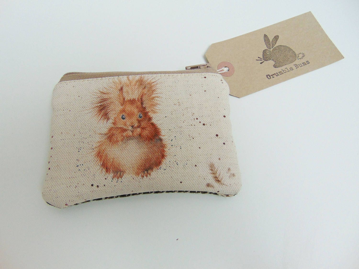 Handmade Squirrel Coin Purse Wrendale Woodland Animal Fabric Country Tweed Wallet