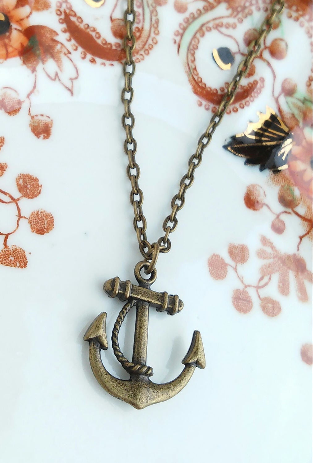Anchor Pendant Necklace Nautical Charm 20 Antique Bronze Tone Chain Deep Sea Ocean