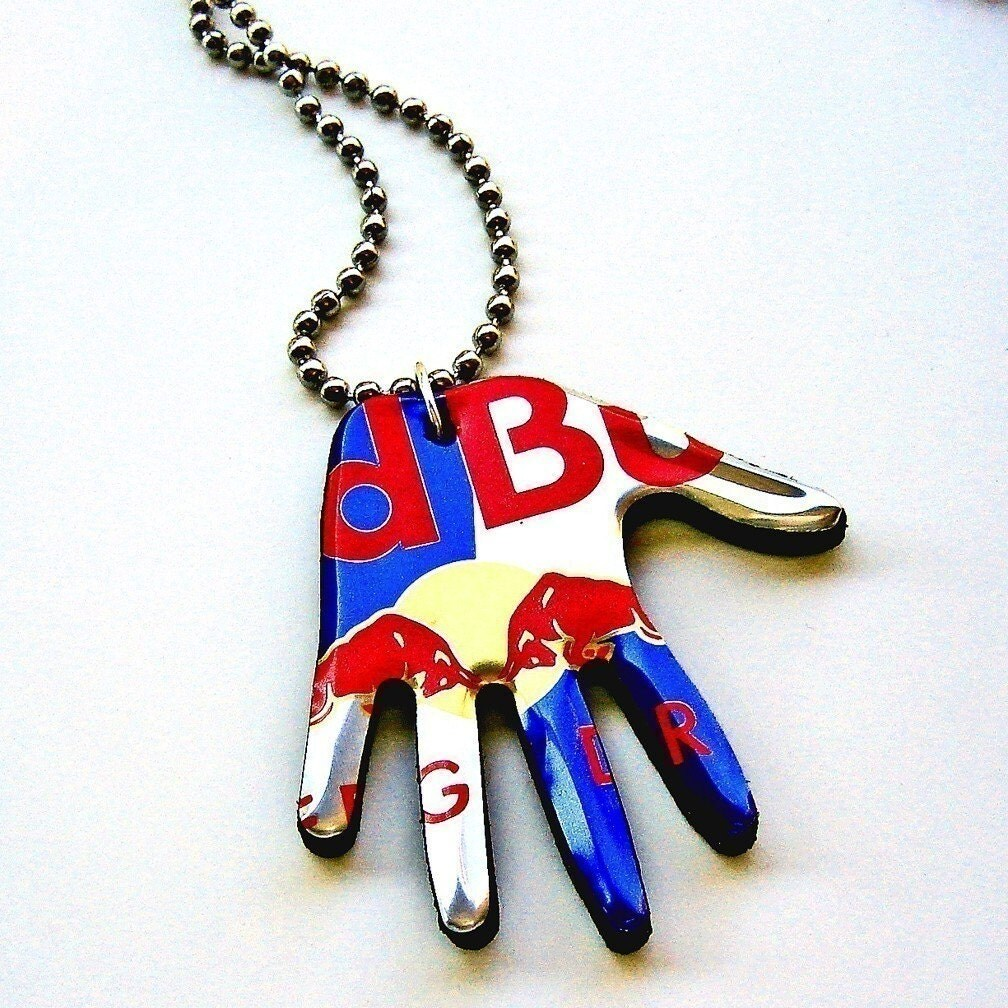 Red Bull Necklace Recycled Aluminum Beverage Can