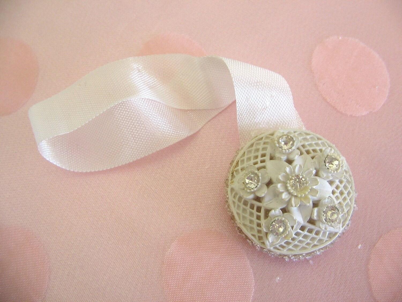 Sweet White Rhinestone Sparkles Repurposed Vintage Earring 'Glamer' Hanger