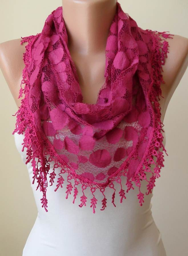 Mothers Day  Fuchsia Scarf with Fuchsia Trim Edge Mother's Day Scarf