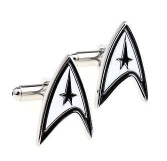 Star Trek Silver Cufflinks with Gift Box - SAME DAY SHIPPING