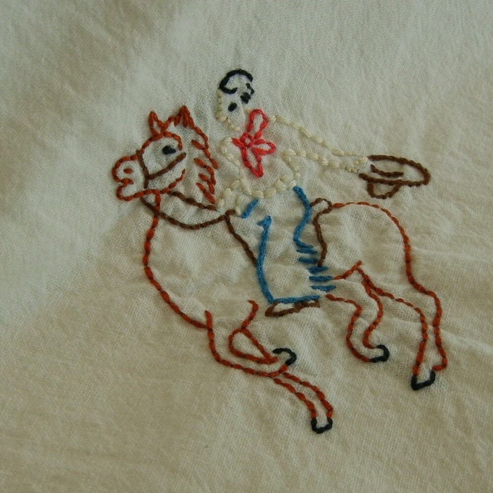 Hand Embroidered Retro Kitchen Towel SALE Cowboy By