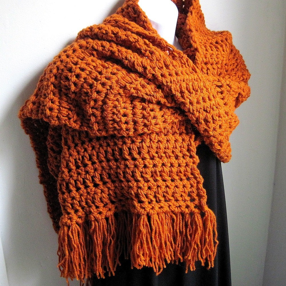 Wrap, Rust Burnt Orange Scarf, EXTRA Long and Wide