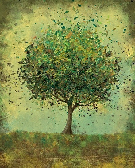 Green Tree Art - Welcome Change (rustic green) - 8x10 Illustration Print - papermoth