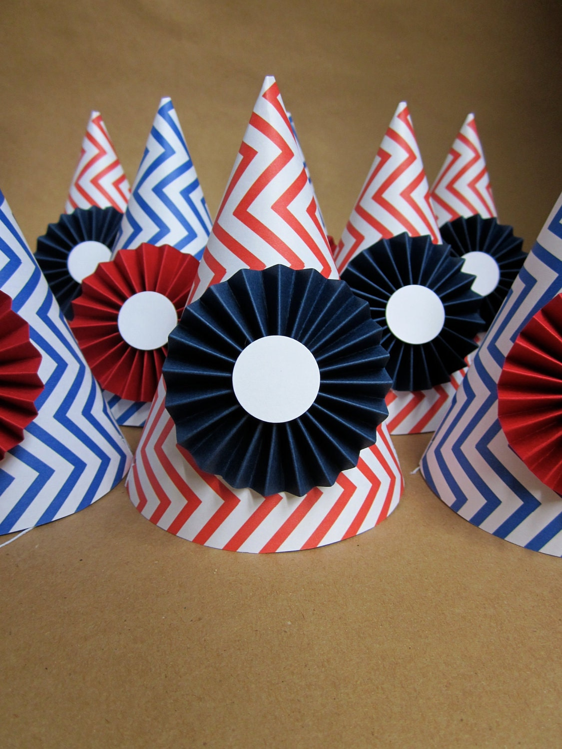 Red, White, and Blue Chevron Printed Party Hats