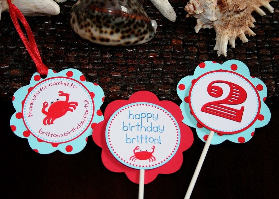 Crabby Cupcake Toppers - AQUA with red polka dots - Set of 12