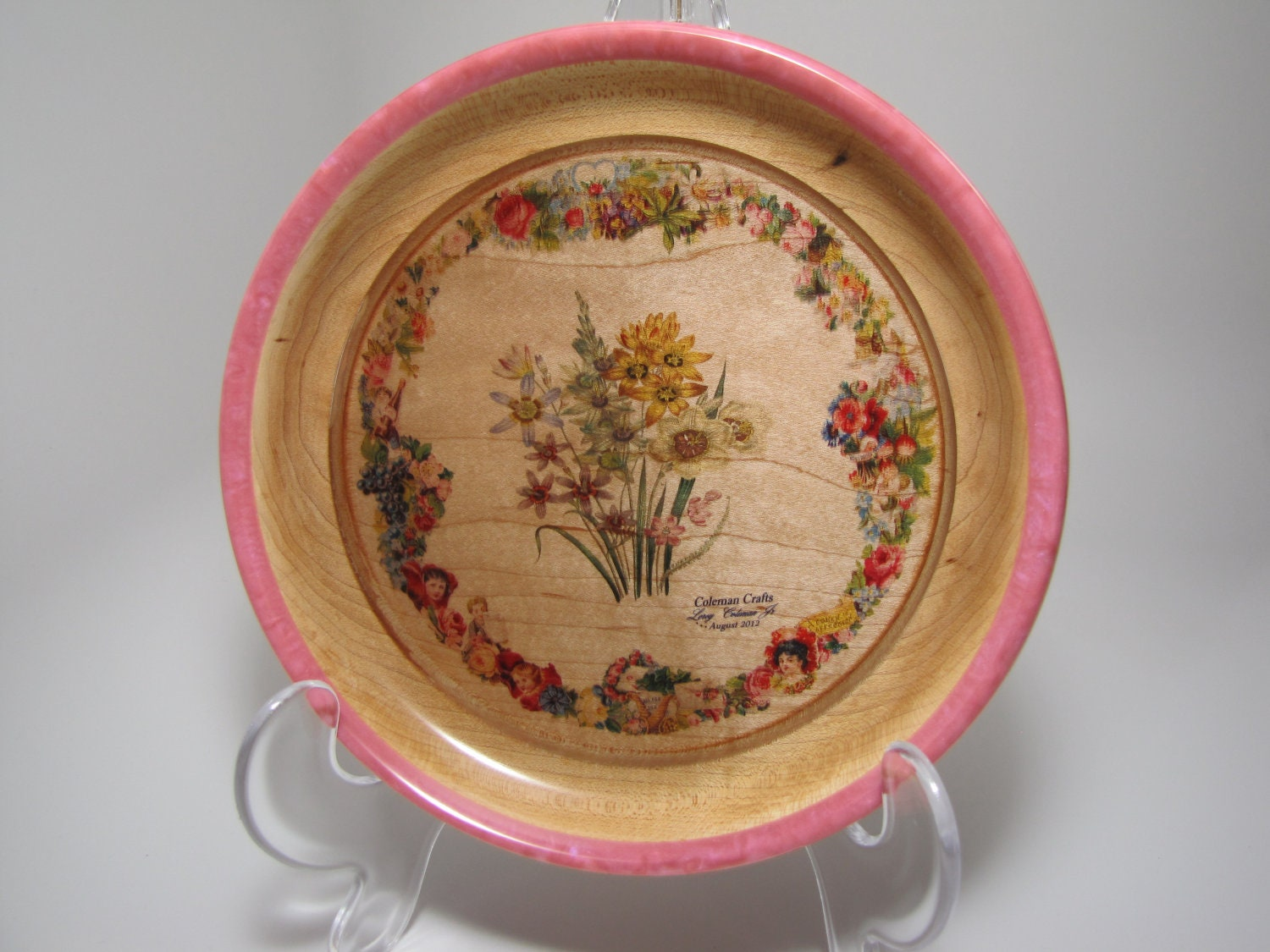 Handcrafted Hard Maple Platter with Floral Arrangement
