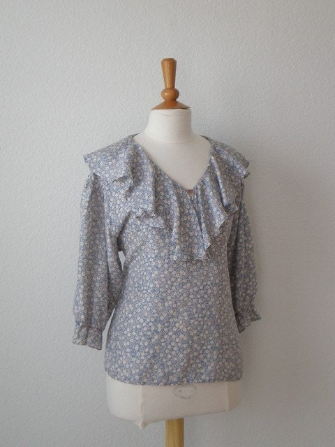 Vintage 80s Romantic Ruffle Blouse, Medium, Large