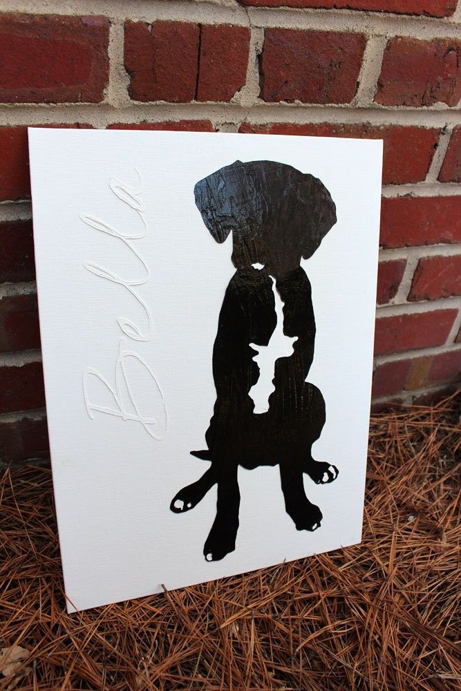 SALE - Modern Dog Silhouette Textured Print - 12x16 canvas original reproduction - I Was Bored Series