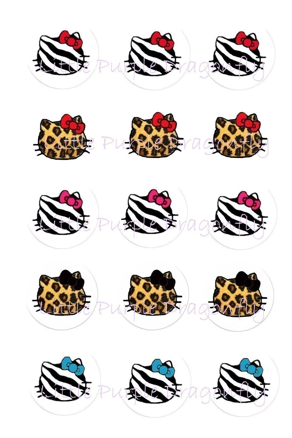 Hello Kitty Animal Print No Face 1 inch circles for bottle cap pendants,