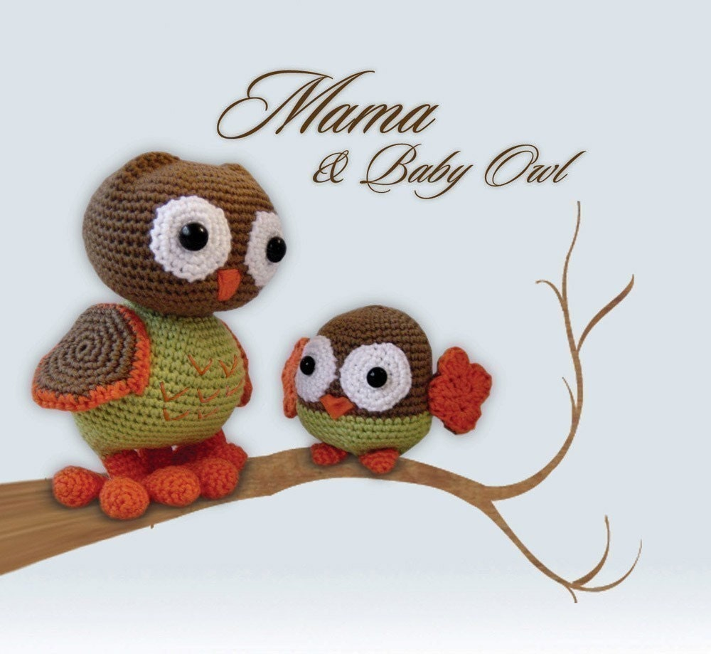 Amigurumi Baby Owl Pattern : Amigurumi Crochet Pattern Mama and Baby Owl by pepika on Etsy