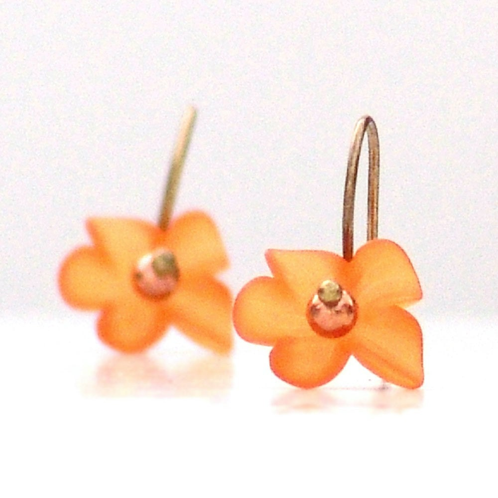 Tangerine Flutter Flower Earrings Dangle by galleryzooartdesigns on Etsy from etsy.com